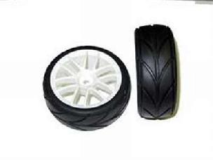 02020W White Wheels and tires 2pcs